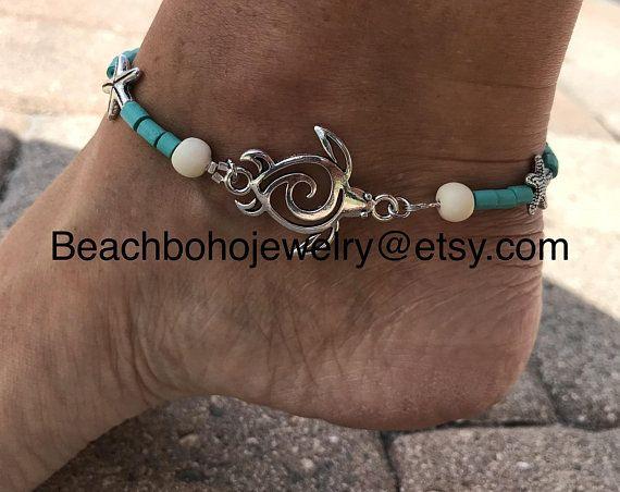White Skull Ankle Bracelet Howlite Anklet Skull Anklet Surfer Anklet Summer Anklets for Women