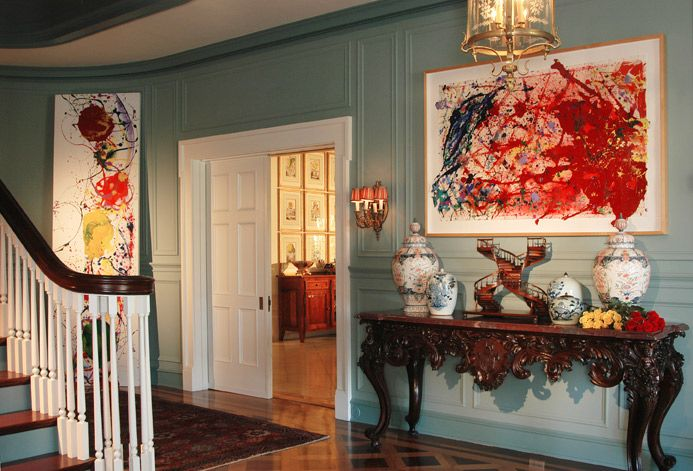Entry - Timothy Corrigan: Oval Room Blue w/Dix Blue Trim. See how the red or yellow works as a small hit of extra colour.