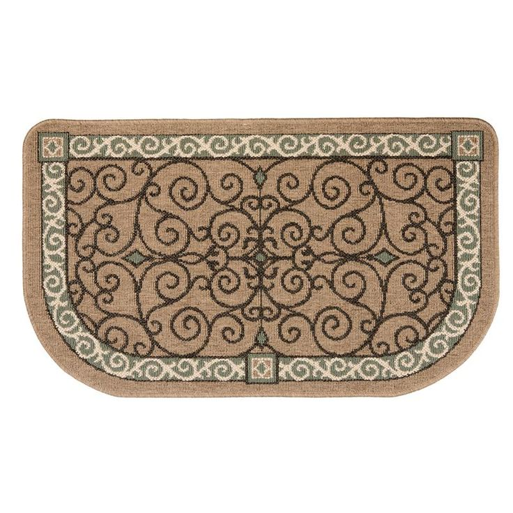Fireplace Rug Fire Resistant: Flame-Resistant Hearth Rug - Tan Scroll