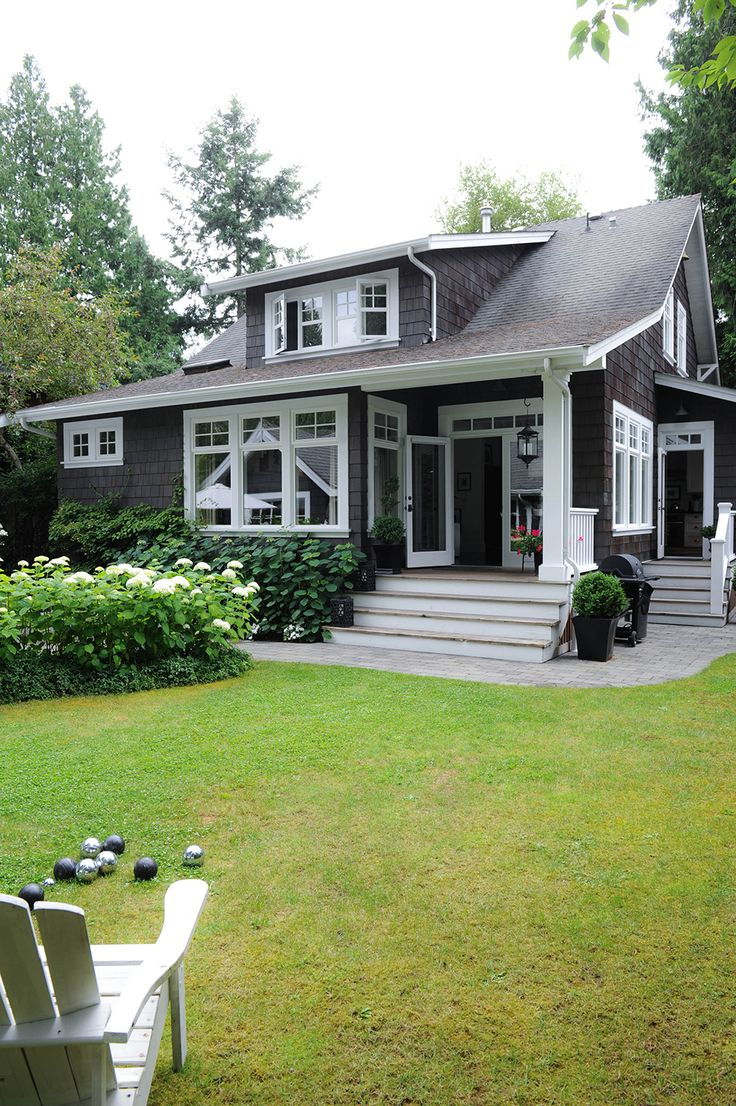 dark gray exterior with white trim I LOVE THIS HOUSE COLOR FOR THE FARM