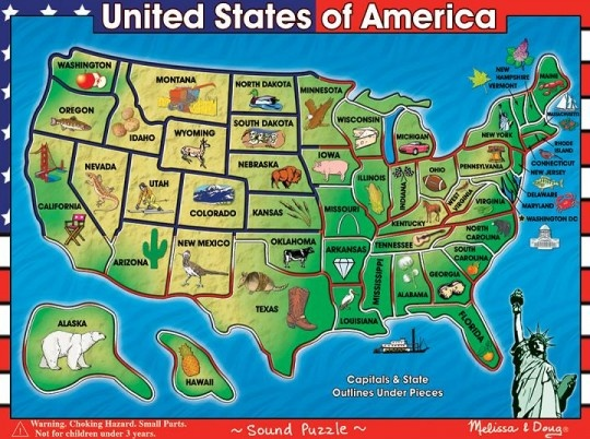 Usa Map Sound Puzzle By Melissa A Geography Toy That Is Especially Favored By Auditory And Hands On Learners