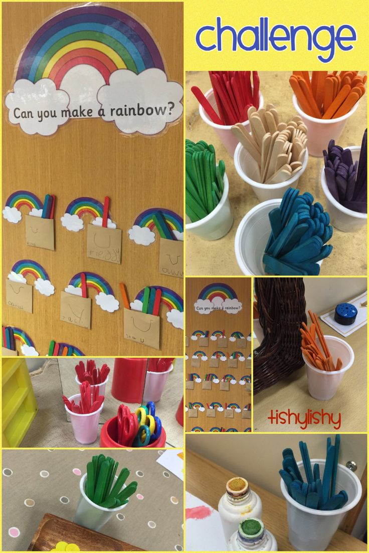 Challenge display in my class. Over the week coloured lolly sticks are placed in different areas. When children complete a challenge/task  they put a stick in their pot of gold.