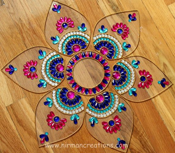 Diwali Rangoli, floor art - Jumbo Pan-  Blue, Pink, White - set of 7 pieces