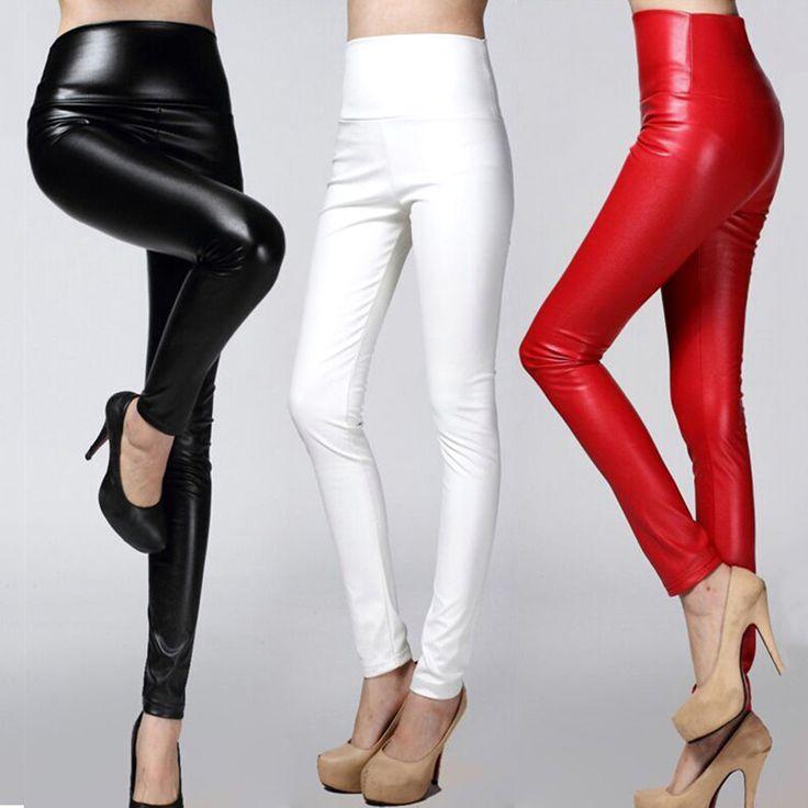 2016 Herfst winter Vrouwen legging skinny PU lederen potlood Leggings slanke faux Lederen Broek vrouwelijke mode dikke fleece broek