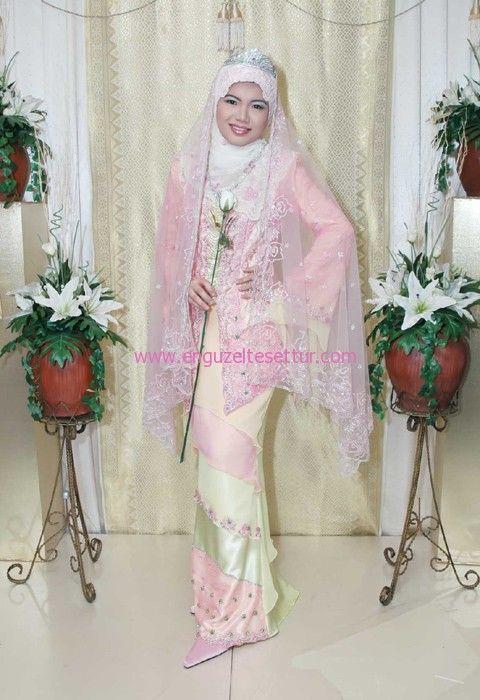 pembe düğün elbisesi http://www.enguzeltesettur.com/en-guzel-tesettur-giyim-kiyafetleri/ #muslim #muslimah #pink #yellow #wedding #bridal #gelinlik #taç #gelin #weddingdress