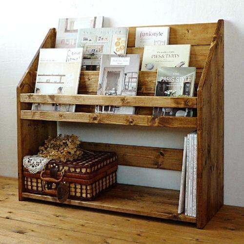 無垢木製マガジンラック*絵本収納棚*アンティークブラウンDW80