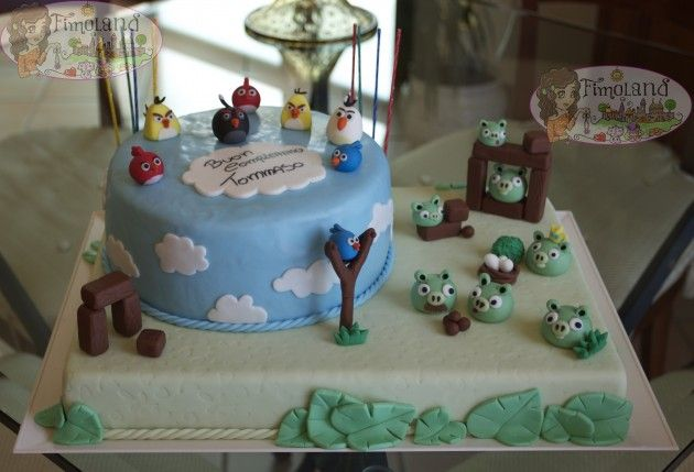 torta cake design angry birds in pasta di zucchero