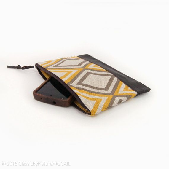 Colorblock Clutch Purse, Pencil Case or Bag Organizer in Mustard Yellow Taupe & Brown by ClassicByNature