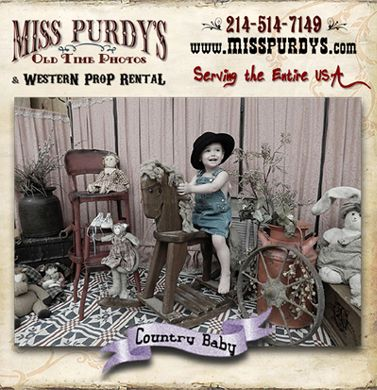 """""""Major Cuteness"""" Country Baby Photo Booth for rent in Little Rock AR with Backdrop, Set Props, Tricycle, Old Time Rocking Horse, Country Costumes, Old Time Hats, Vintage Dolls & Vintage Teddy Bears, Vintage Step Ladder, & Accessories and complete mobile service to the entire USA!"""