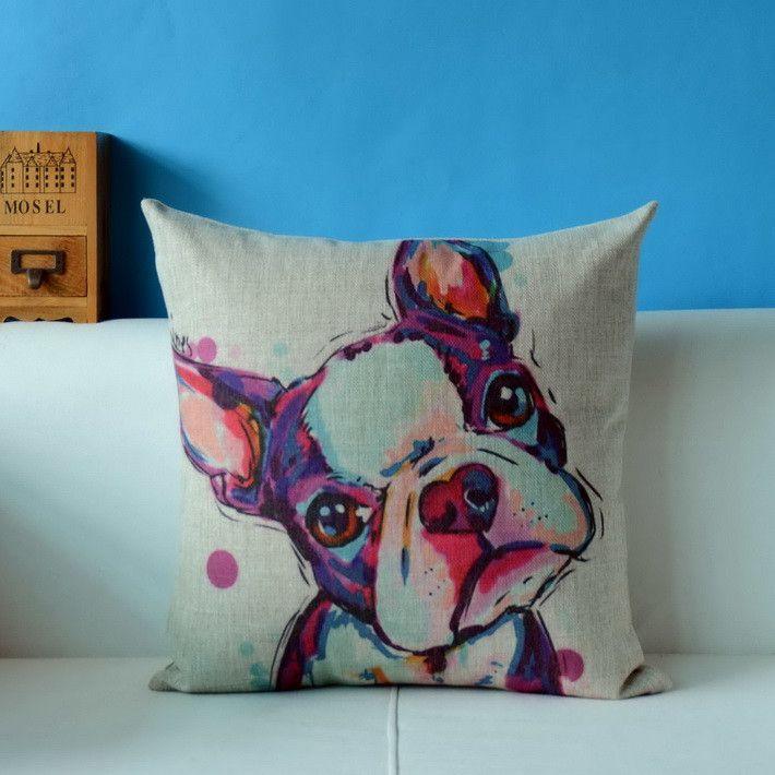 Painting French Bulldog and Pug Throw pillow