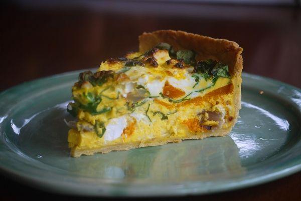 Roast pumpkin, spinach and ricotta quiche - Julie Goodwin