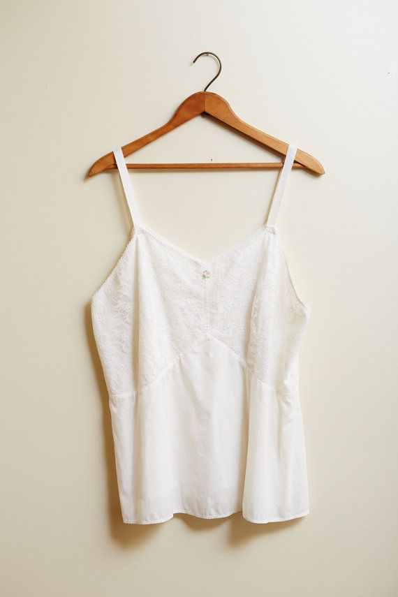 1960s Handmade White Camisole with Lace Detailing XXL