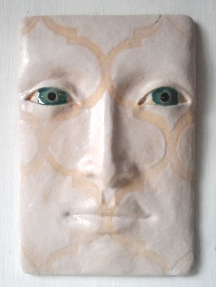 Ceramic wall sculpture, Ottoman style face geometric pattern, pottery face, white pattern face, white modern art, boho art tile by LouiseFultonStudio on Etsy