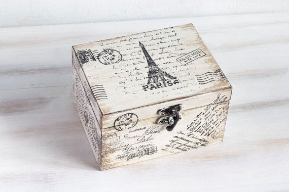 Paris Wooden Box, Beige Treasury  Box, Jewelry box, Distressed box, Eiffel tower Box, Memory box, Keepsake box, ohtteam