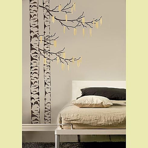 birch tree stencils amazing i want to do this on the 17 39 high wall in the living room for. Black Bedroom Furniture Sets. Home Design Ideas