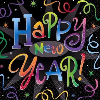 'Happy New Year' Countdown Celebration Napkins -  New Years Party Tableware Ideas