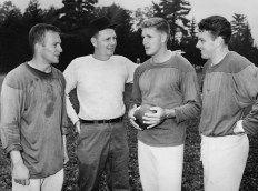 1957 Steeler QB's. Ted Marchibroda, Coach Buddy Parker, Jack Scarbath and Len Dawson.