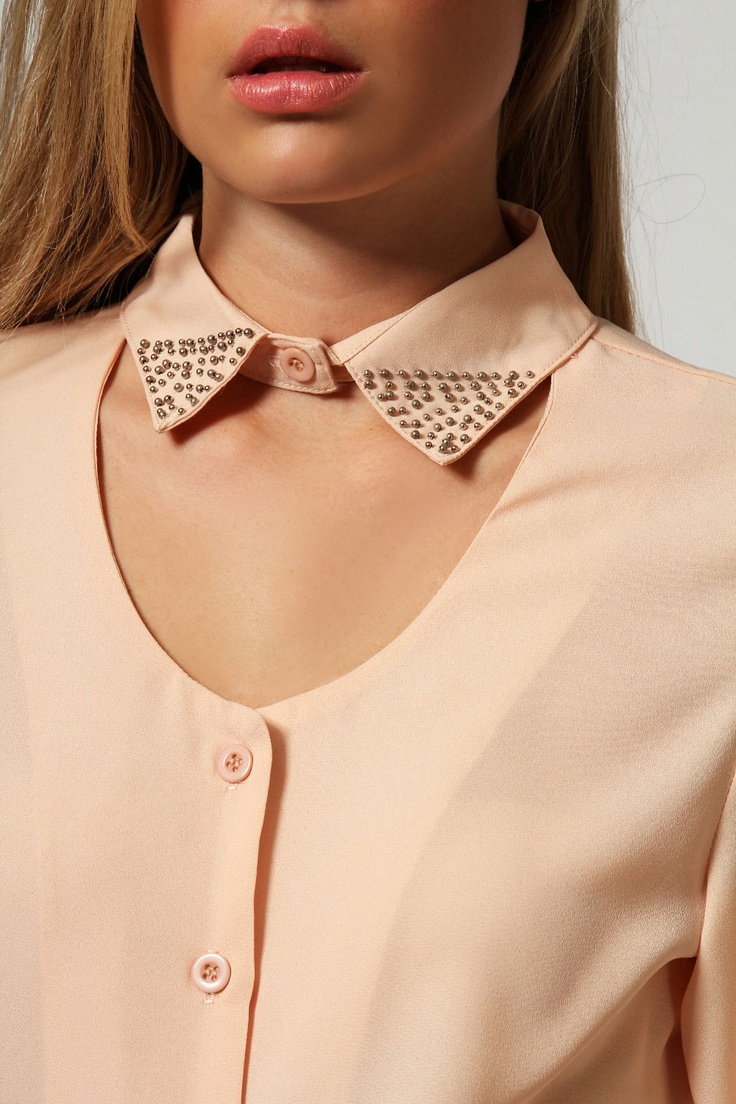 Eve Beaded Collar Detail Cut Out Blouse
