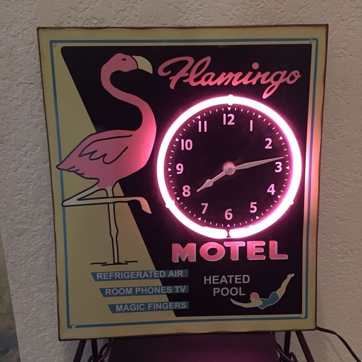 VINTAGE PINK FLAMINGO MOTEL NEON WALL CLOCK SIGN TIN METAL