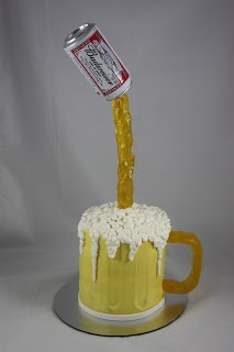"""Beer Mug Cake - Four 6"""" cakes, use wire covered in Fondant for handle. Use dowel rod covered in fondant for the flowing beer."""