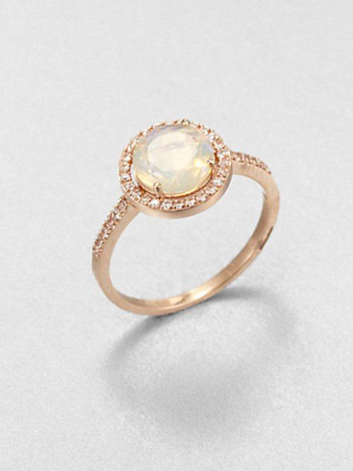 Cool  Kt GOLD Fashionable Elegant elite SOLITAIRE NATURAL white opal Ring for Party Wedding and