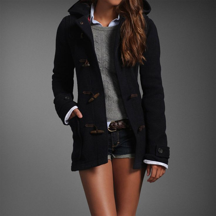 NWT Abercrombie & Fitch women Wool Toggle coat Adriana