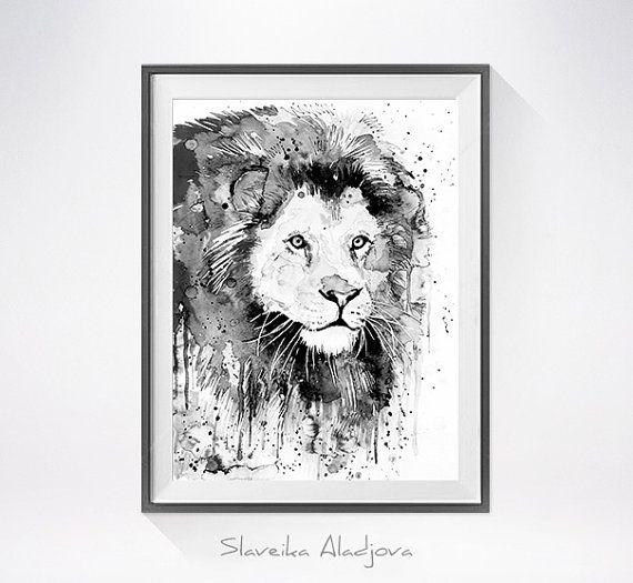 Dipinto ad acquerello di leone nero & stampa arte di di SlaviART