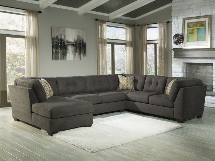 Best Quality Dark Grey Fabric Upholstery U Shaped Sectional Sofa Living Room Inspirations With Chaise Right