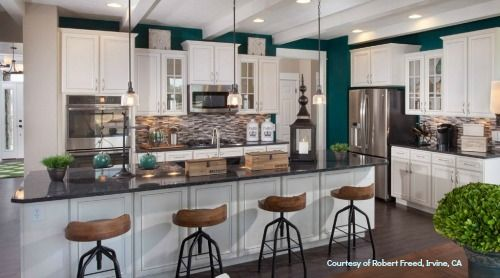"Color-Trends-2014: Silverleaf Kitchen, Every facet perfect, Pantone's 2013 Color of the year ""Emerald Green"", St. Andrews at Silverleaf, Ryland Homes, Fishers, IN."