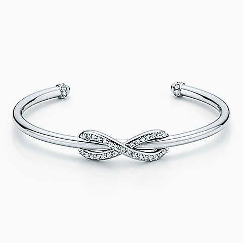Tiffany Infinity cuff in 18k white gold with diamonds, medium.