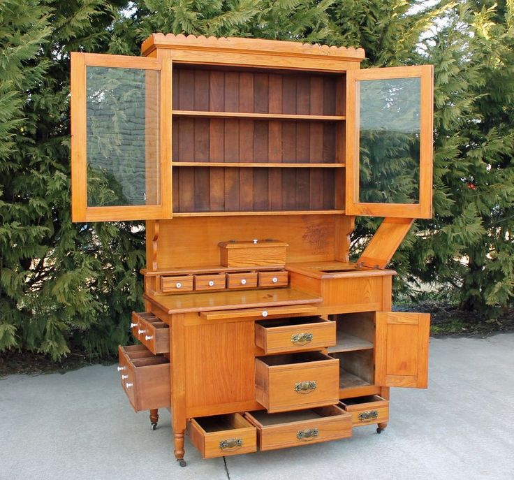 87 best images about hutches hoosiers on pinterest for Chestnut kitchen cabinets