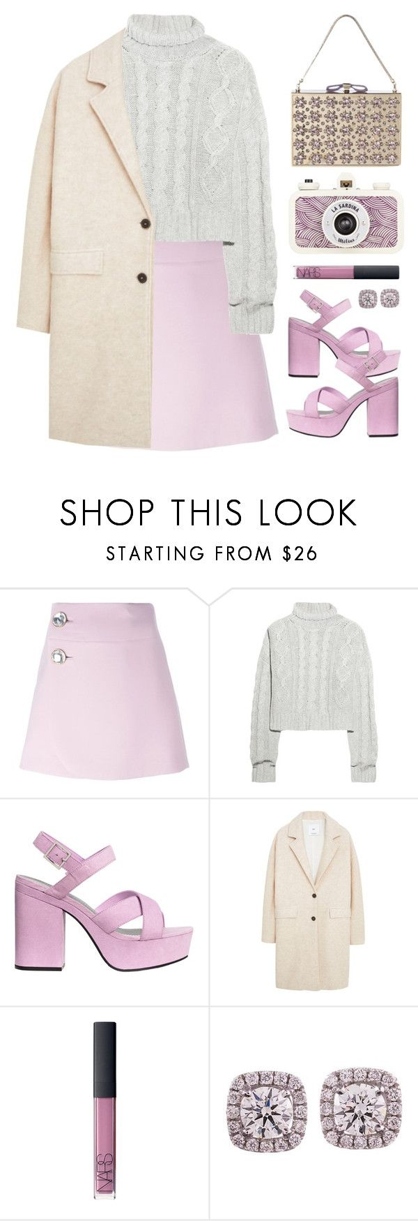 """Lavender Skies"" by gangsterwizard ❤ liked on Polyvore featuring Marni, Bamford, Nina Ricci, H&M, MANGO, NARS Cosmetics, monochrome and winter2015"