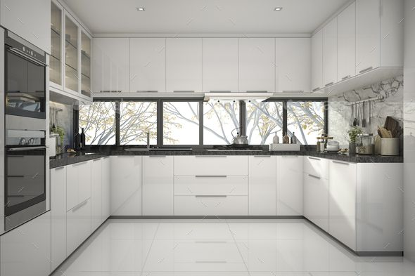 3d Rendering Beautiful Modern White Kitchen With Marble Decor In