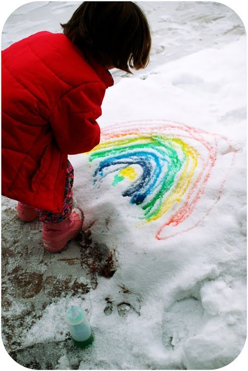 Snowy day activity: Fill bottles with food coloring and water; go outside