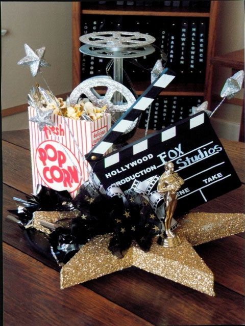 movie themed engagement party | centerpieces | Greenery Productions