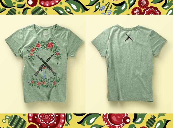 Make Art not War, Tshirt design with russian national Gorodets painting  Design  by Mariia Filonenko