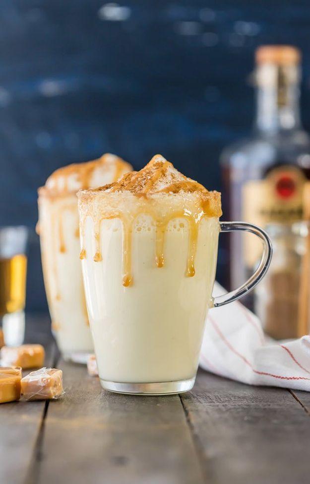 Homemade Salted Caramel Eggnog | 20 Eggnog Recipes For The Holidays | https://homemaderecipes.com/homemade-eggnog-recipes/