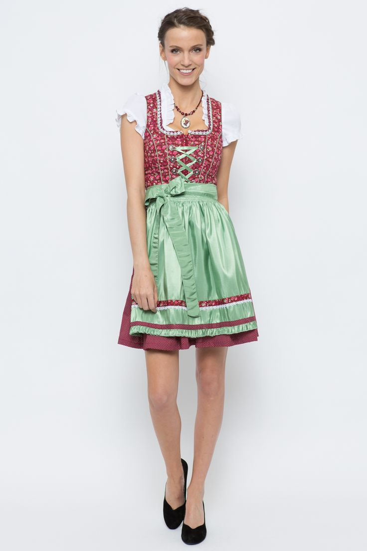 Mini Dirndl Paula, rot/grün von Krüger bei Bavaria Lederhosen bestellen   Bavaria Lederhosen