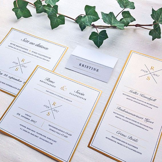 Bryllupsinvitasjon, save the date kort, meny og bordkort i designet 'X-faktor' // ELM DESIGNKOLLEKTIV 2016
