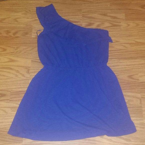 One shoulder cobalt dress Beautiful twist on lbd. Little blue dress Express Dresses