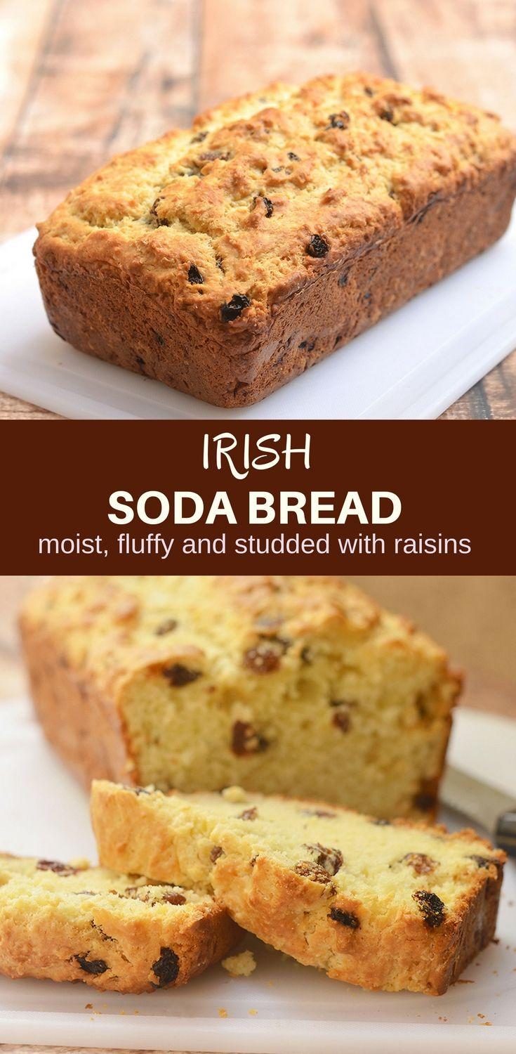 Irish Soda Bread with a delicious golden crust on the outside, moist and fluffy on the inside, and generously studded with plump raisins is the best quick bread loaf you'll ever have! It's perfect for all your St. Patrick's celebrations but just as good all year long #irishsodabread #quickbread #StPatricksDay #bakedgoods