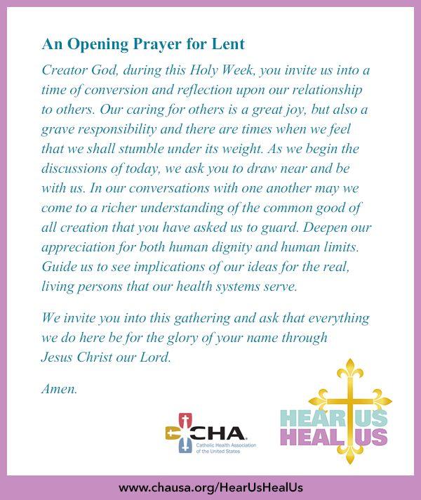 An Opening Prayer for Lent  #HearUsHealUs  #Lent  #AshWednesday