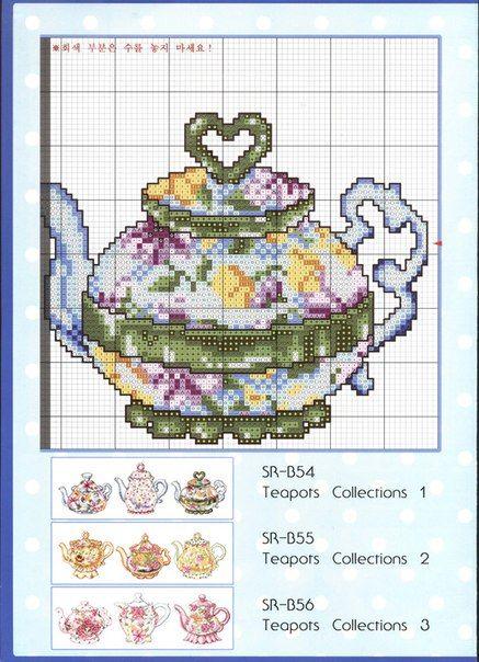 схемы вышивки КУХНЯ, кухонная тема, серванты, чайники, чашки, сервизы | схемы вышивки крестом