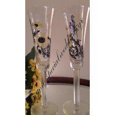 Ποτήρι σαμπάνιας γάμου ηλιοτρόπια Hand painted wedding champagne flute Sunflowers