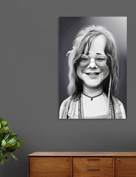 Discover «Janis Joplin», Numbered Edition Aluminum Print by rob art | illustration - art | decor | wall art | inspiration | caricatures | home decor | idea | humor | gifts