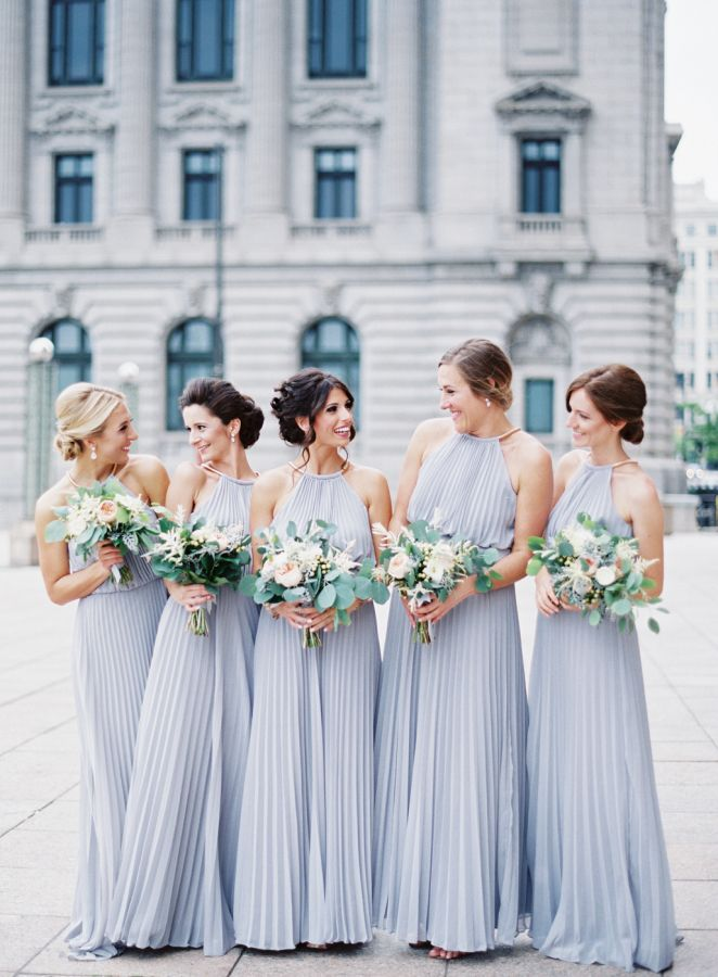 Light periwinkle bridesmaids dresses: http://www.stylemepretty.com/ohio-weddings/cleveland/2016/09/06/they-met-at-work-and-the-rest-is-totally-stunning-history/ Photography: Lauren Gabrielle - http://laurengabrielle.com/