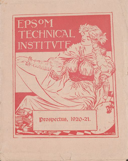 Image of a female  on a 1920-1921 prospectus   'The gender balance in art schools were usually even 50/50, but given the impact of the war by the 1920s/30s female students were in the majority'-David Haste, Author of Art Schools of Kent  Read more about Epsom School of Art here archives.ucreative.ac.uk/CalmView/Record.aspx?src=CalmVie...