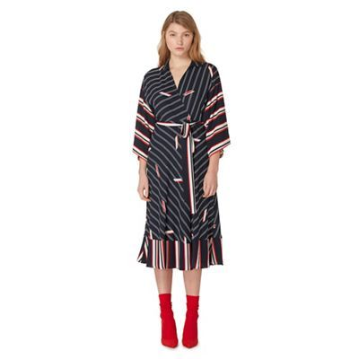 Studio by Preen Navy striped print wrap dress | Debenhams