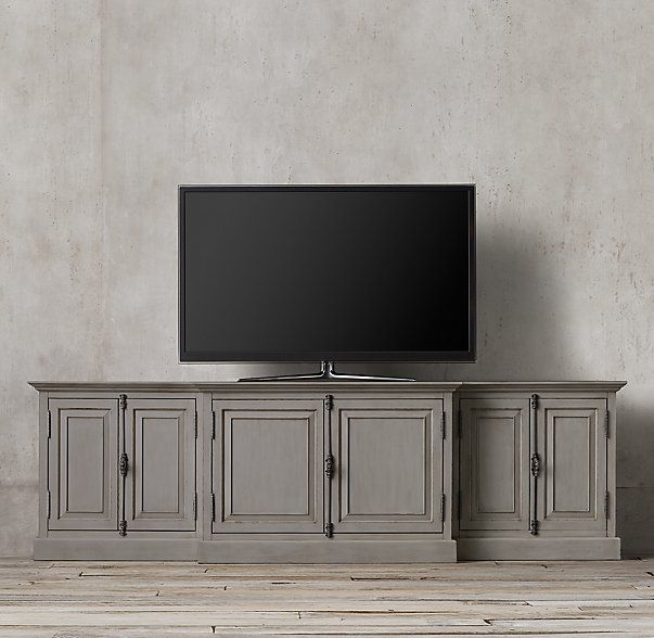 French Panel Media Console -- thoughts on this one in grey? Or distressed white?