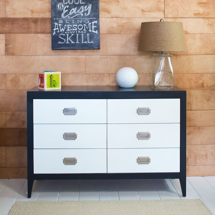 Kids Double Dresser With 6 Drawers Contemporary Design Solid Wood Made In Usa